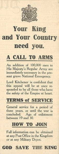 Call to Arms World War One. Belfast Telegraph 5th August, 1914
