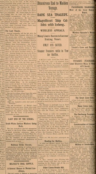 Titanic disaster. Irish News 16th April 1912