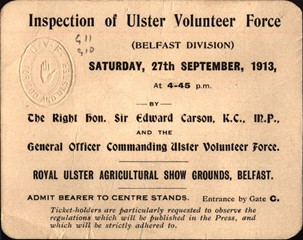 Ticket for Inspection of Ulster Volunteer Force (UVF) by Sir Edward Carson
